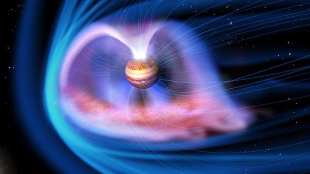 NASA показала таинственные сияния наполюсах Юпитера