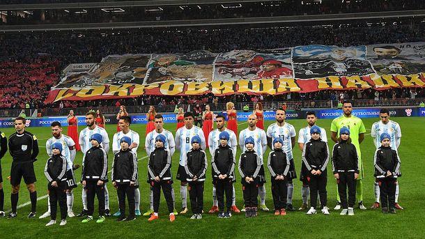 Исполнения гимнов во время матча Россия - Аргентина на