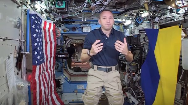 Астронавт НАСА слетал вкосмос сфлагом Украинского государства