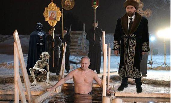 Чуда не произошло, Путин не утонул: соцсети смеются над президентом России в проруби