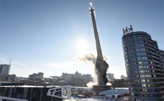 Взрыв 220-метровой телебашни вЕкатеринбурге сняли навидео