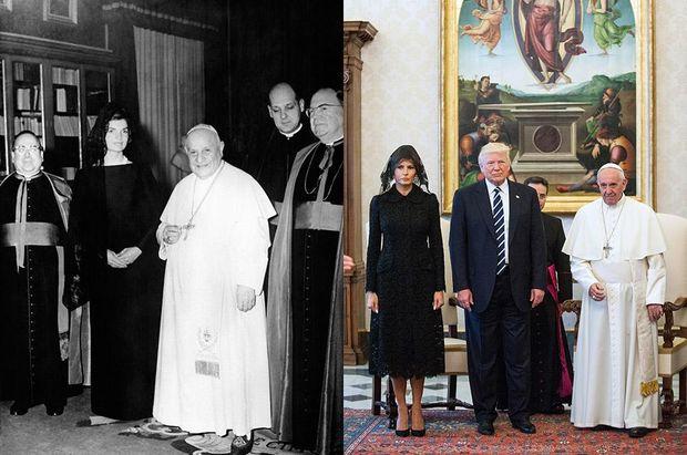 Джекі Кеннеді та Меланія Трамп під час візиту до Ватикану
