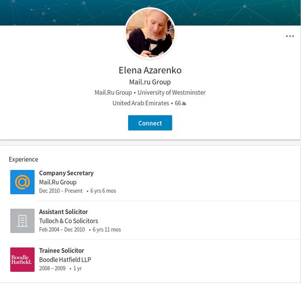 Азаренко є представником Mail.Ru Group на Кіпрі