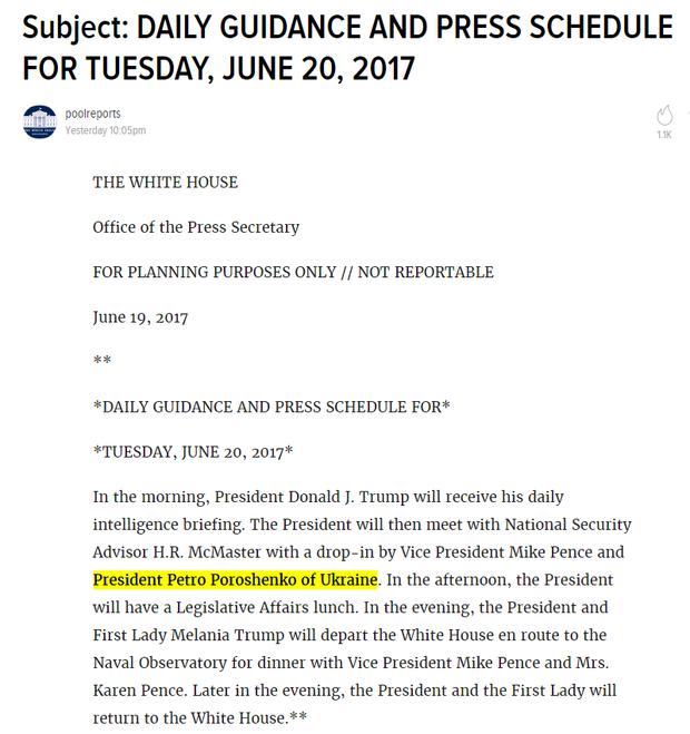 У вівторок Трамп зустрінеться з Порошенком