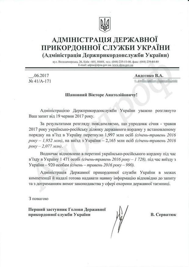 Відповідь ДПСУ на запит журналістів щодо кількості росіян, яких не впустили в Україну