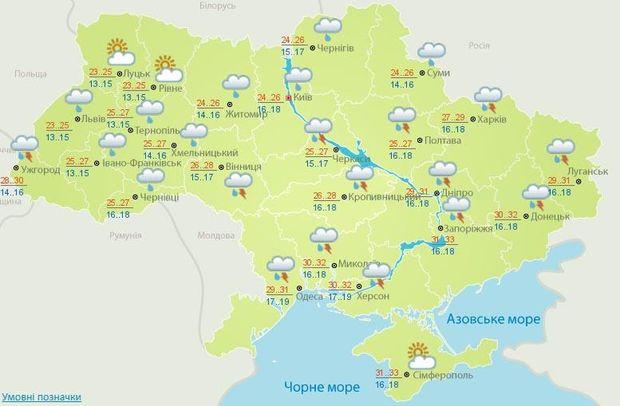 Прогноз погоди на 27 червня