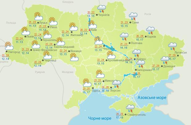 Прогноз погоди в Україні на 14 липня від Укргідрометцентру