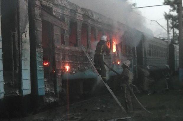Пожежа в електричці у Харкові