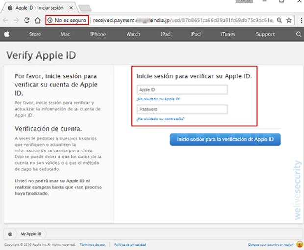 Фішингова атака на користувачів Apple