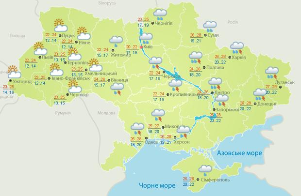 Прогноз погоди в Україні на суботу, 29 липня