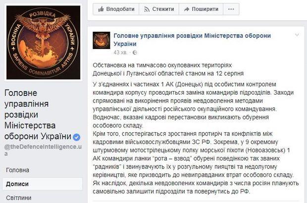 Розвідка дізналася про конфлікти між кадровими російськими військовими на Донбасі