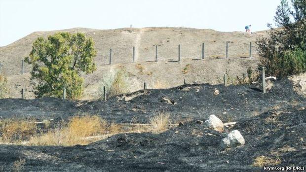 Вогонь спалахнув вантичному заповіднику «Пантікапей» уКриму