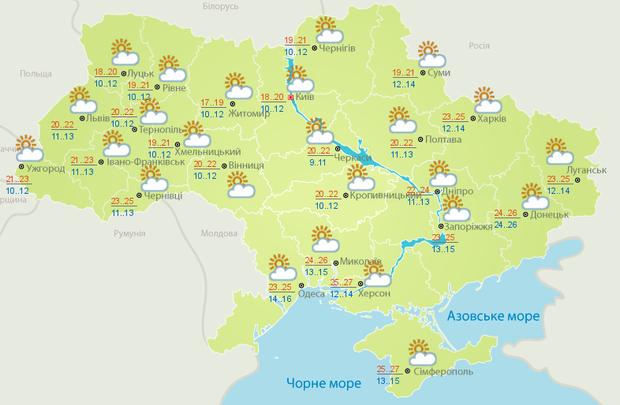 Прогноз погоди на середу, 24 серпня, у містах України: