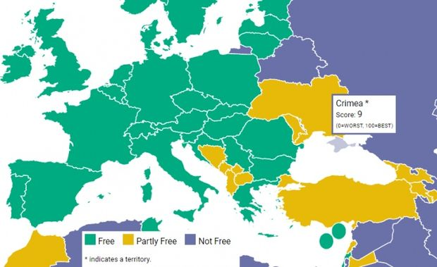 Freedom House обнародовала доклад с русским Крымом накарте