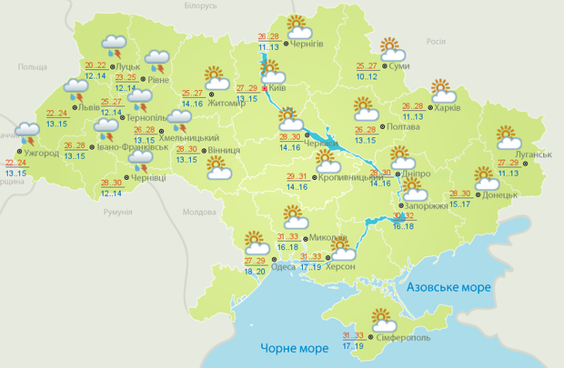 Погода, Україна, спека