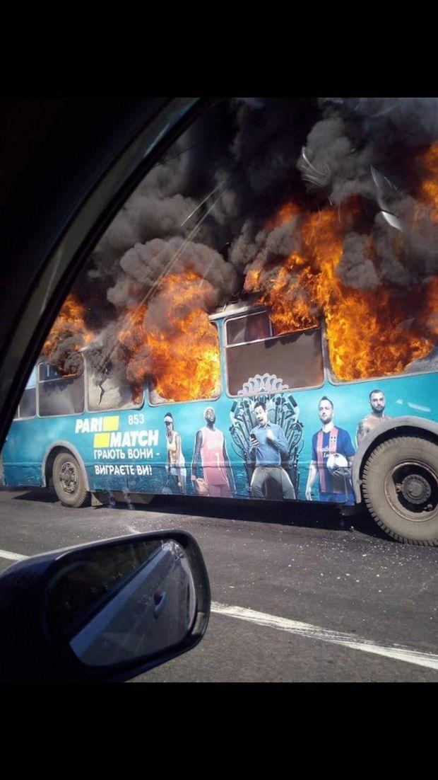 Пожежа, тролейбус, транспорт, Одеса