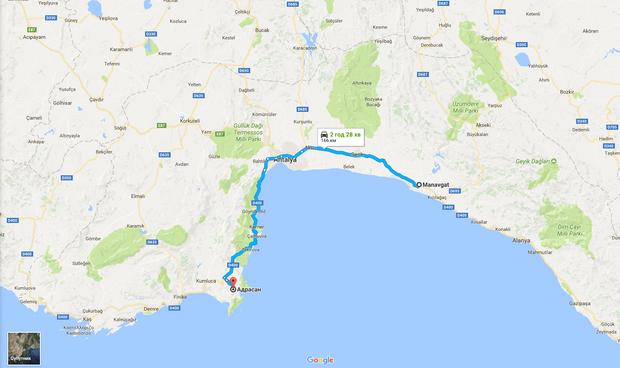 Маршрут пролягає через Анталію
