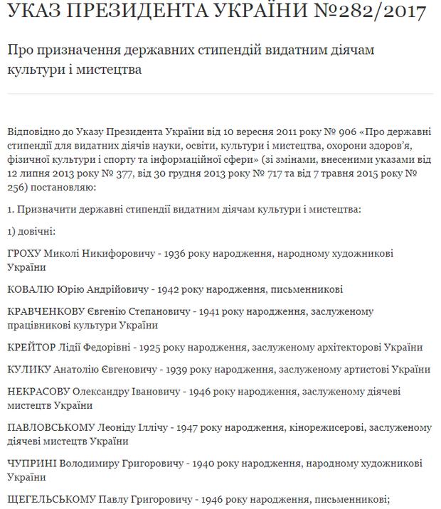 Порошенко підписав указ про стипендії діячам культури