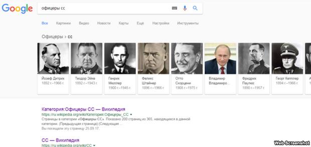 Google знайшов Путіна у лавах СС