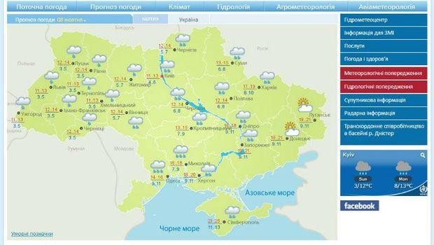 Прогноз погоди на 8 жовтня в Україні