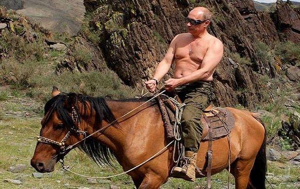 Путін з голим торсом на коні