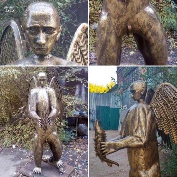 У Росії з'явилася скульптура Путіна у вигляді крилатого ведмедя