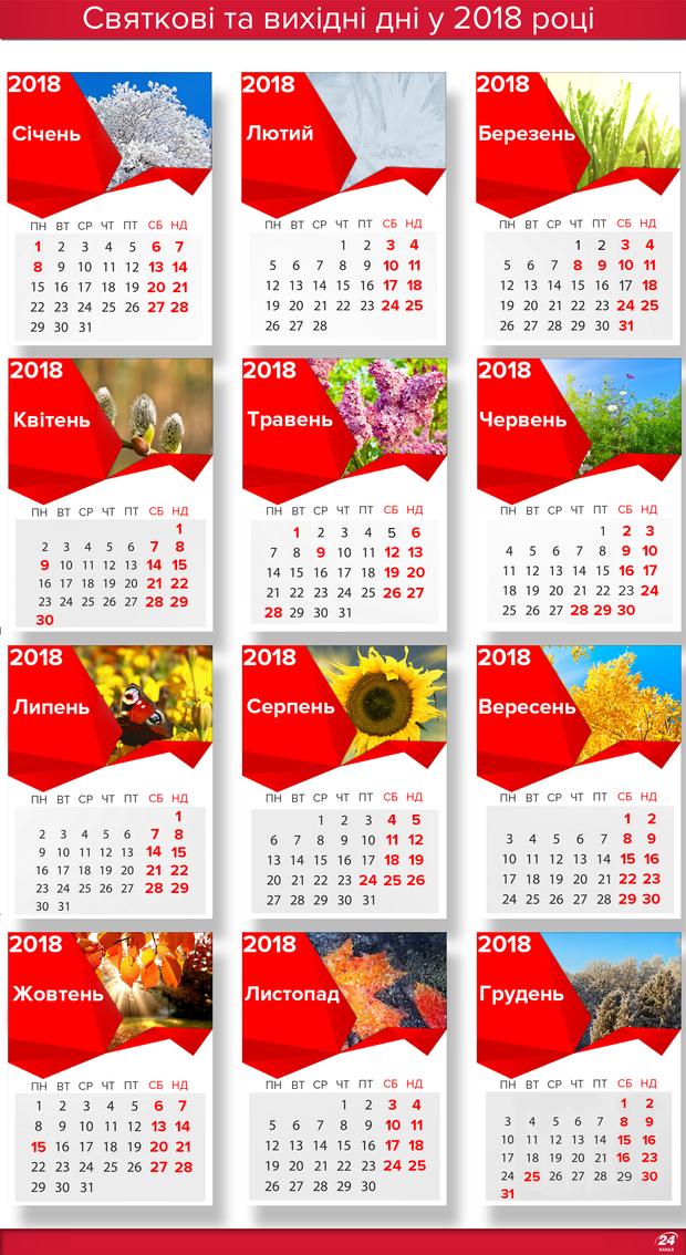 Вихідні дні 2018 в Україні