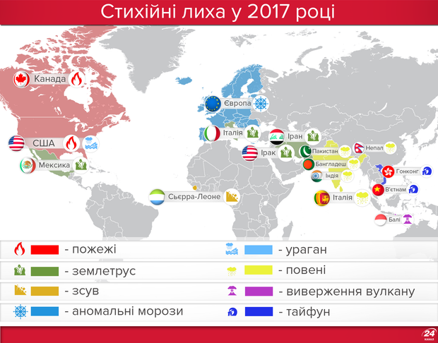 Стихійні лиха, які сколихнули світ у 2017 році
