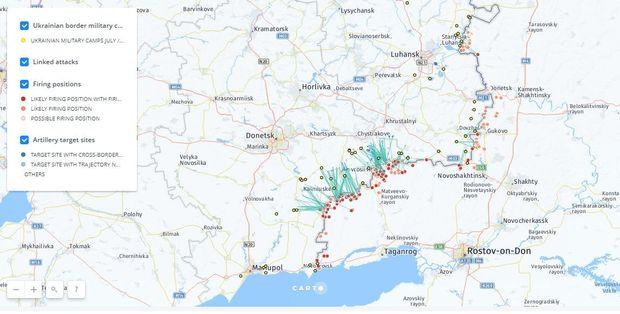 Карта обстрілів від Bellingcat