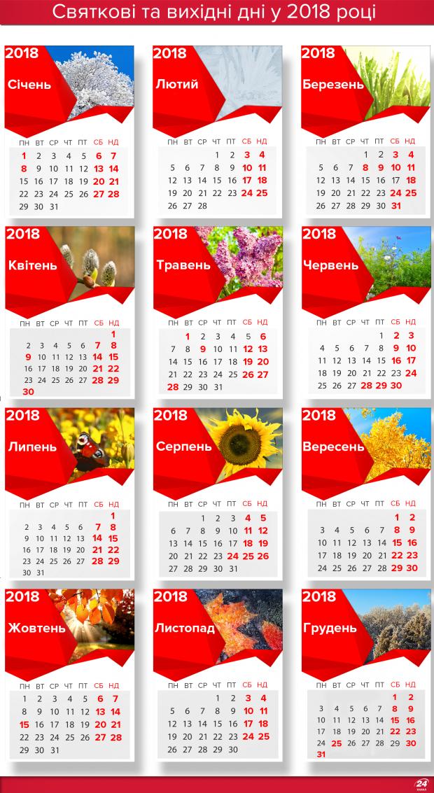 Вихідні в Укроаїні у 2018 році