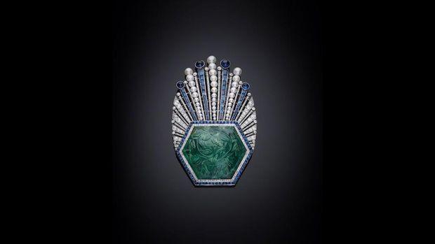 Цей смарагдовий, алмазний та сапфіровий ейгрет – ще одна прикраса для тюрбану