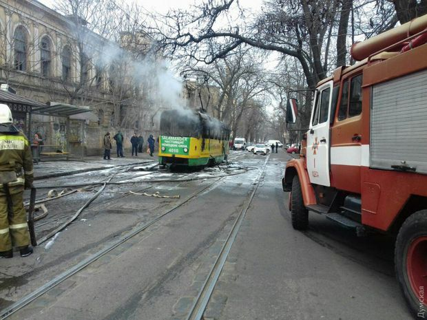 Трамвай горів в Одесі