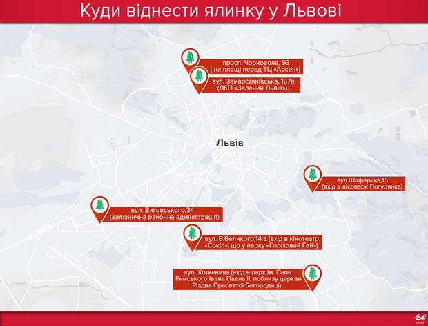 Куди віднести ялинку 2018 у Львові