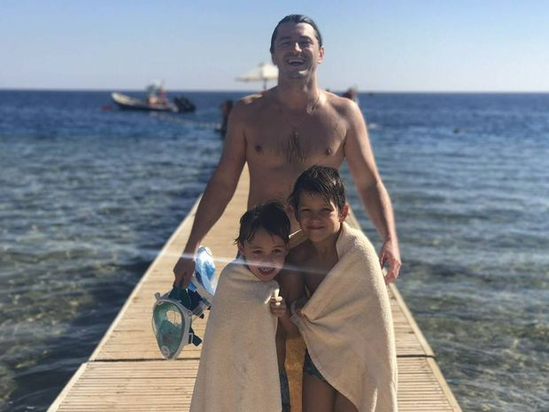 Сергій Притула із сином та похресником