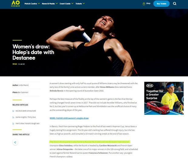 Сайт Australian Open прийняв найтитулованішу тенісистку України Еліну Світоліну за росіянку