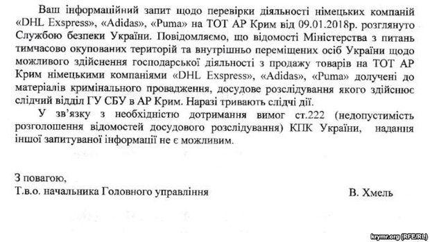 СБУ розслідує, чи працюють у Криму Adidas, Puma та DHL