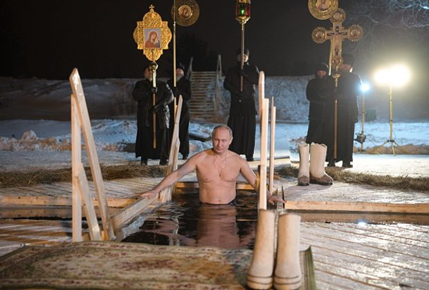 Путін, Водохреще, купання, ополонка