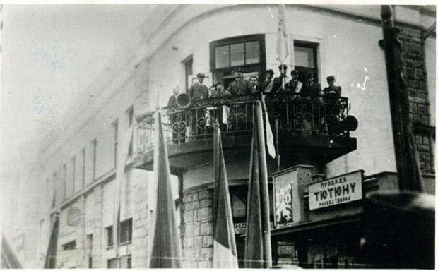 Генерал Курманович виступає в Хусті у День Злуки, 22 січня 1939 року