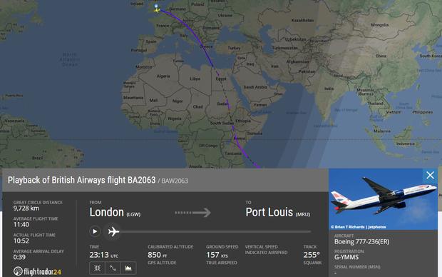 літак лондон маврикій