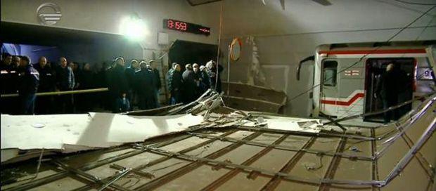 метро Тбілісі Грузія впала стеля