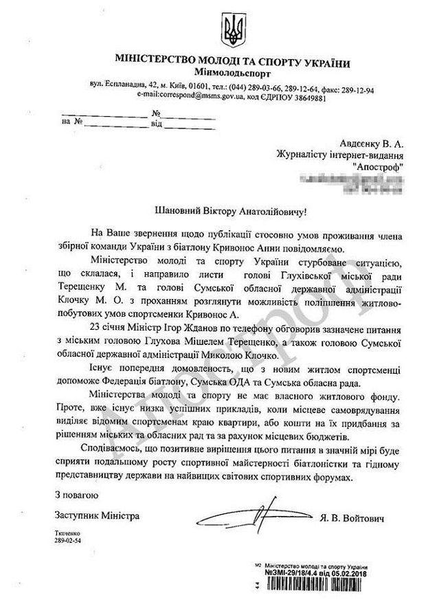 Реакція Міністерства спорту на скандал довкола житла Анни Кривонос