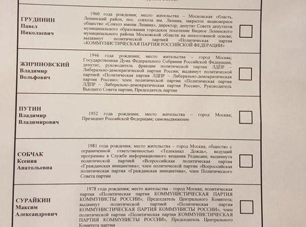 Путін, вибори,  Росія, кандидати, бюлетень