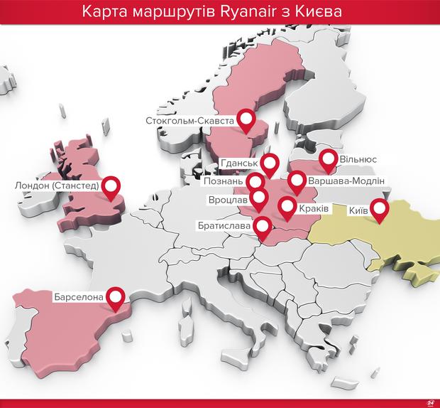 Рейсы Ryanair из Киева