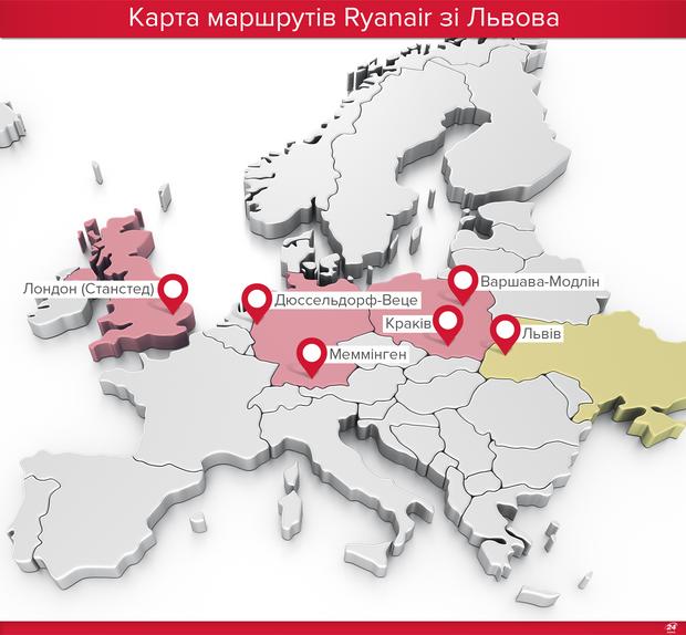 Рейси Ryanair зі Львова