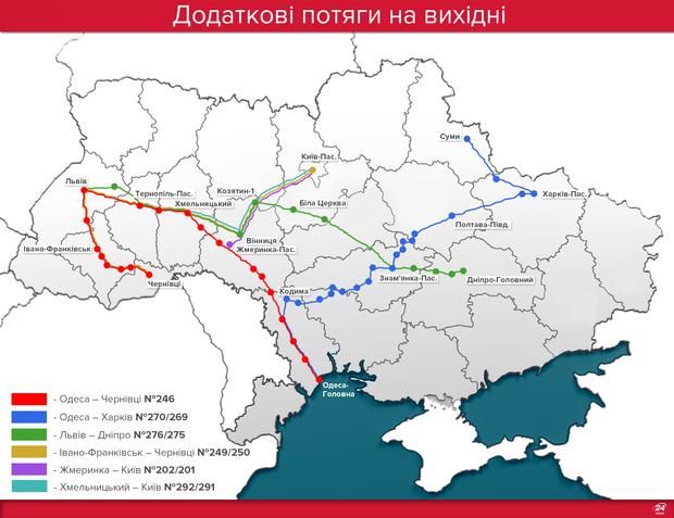 Додаткові потяги на вихідні: маршрути