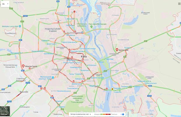 Напередодні 8 березня Київ паралізували 9-бальні затори