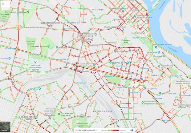 Київ паралізували 9-бальні затори