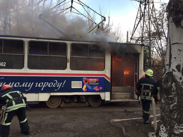 Пожежа в трамваї у Запоріжжі