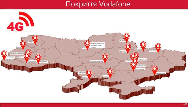 В яких містах працює 4G  від Vodafone