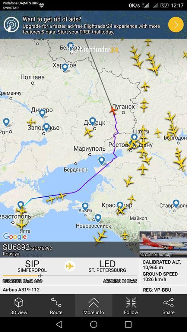 Невідомий літак здійснив авіарейс із Криму, пролетів через Росію і зник над Донбасом